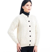 Image for Traditional  Aran Crew Neck Cardigan Sweater, Natural