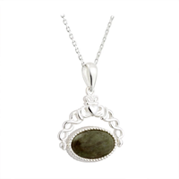 Image for Sterling Silver Marble Claddagh Fob Style Pendant