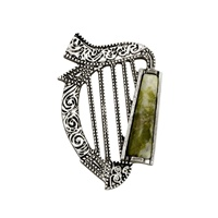 Image for Rhodium Plated Connemara Marble Harp Brooch