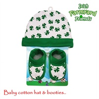 Image for Irish Shamrock Baby Hat and Booties Set
