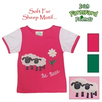 Image for Irish Baby Girl T-Shirt with Soft Fur Sheep Motif, Cerise