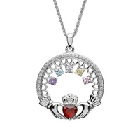 Image for Sterling Silver 5 Stone Family Claddagh Birthstone Pendant