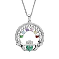 Image for Sterling Silver 6 Stone Family Claddagh Birthstone Pendant