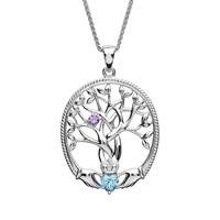 Image for Sterling Silver 1 Stone Irish Family Claddagh Tree of Life Birthstone Pendant