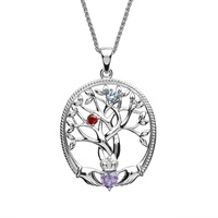 Image for Sterling Silver 2 Stone Irish Family Claddagh Tree of Life Birthstone Pendant