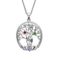Image for Sterling Silver 3 Stone Irish Family Claddagh Tree of Life Birthstone Pendant