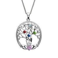Image for Sterling Silver 4 Stone Irish Family Claddagh Tree of Life Birthstone Pendant