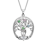 Image for Sterling Silver 5 Stone Irish Family Claddagh Tree of Life Birthstone Pendant