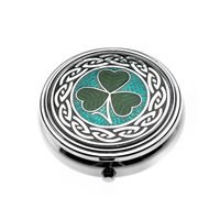 Image for Sea Gems Irish Shamrock Enamel Large Pillbox, Green