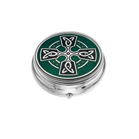 Image for Sea Gems Celtic Cross Large Pillbox, Green
