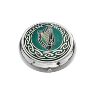 Image for Sea Gems Celtic Irish Harp Pillbox, Green