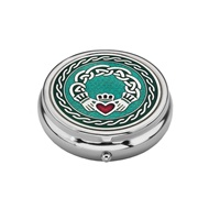 Image for Sea Gems Celtic Claddagh and Knots Pillbox, Green