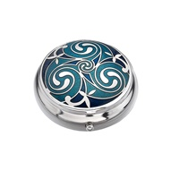 Image for Sea Gems Celtic Triskele Round Pillbox, Blue/Turquoise