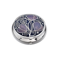 Image for Sea Gems Mackintosh Leaves and Coils Pillbox, Purple/Lilac