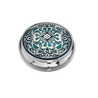 Image for Sea Gems Arabesque Design Pillbox, Blue/Turquoise