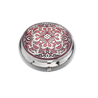 Image for Sea Gems Arabesque Design Pillbox, Red