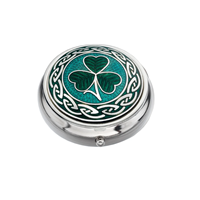 Image for Sea Gems Irish Shamrock and Knots Pillbox, Green