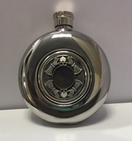 Image for Irish Whiskey Flask with Glass Center, Claddagh