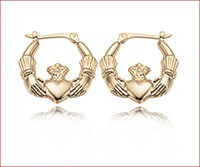 Image for 14K Small Claddagh Hoop Earrings