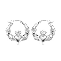 Image for Sterling Silver Small Claddagh Hoop Earrings