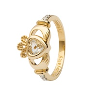 Image for 14K Yellow Gold April Claddagh Birthstone Ring, April