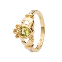 Image for 14K Yellow Gold Diamond Claddagh Birthstone Ring, August
