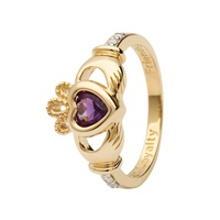 Image for 14K Yellow Gold Diamond Claddagh Birthstone Ring, February