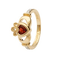 Image for 14K Yellow Gold Diamond Claddagh Birthstone Ring, January