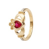 Image for 14K Yellow Gold Diamond Claddagh Birthstone Ring, July