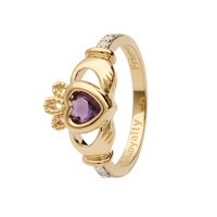Image for 14K Yellow Gold Diamond Claddagh Birthstone Ring, June
