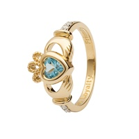 Image for 14K Yellow Gold Diamond Claddagh Birthstone Ring, March