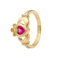 Image for 14K Yellow Gold Diamond Claddagh Birthstone Ring, October