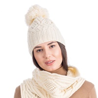 Image for Aran Wool Bobble Hat, Natural