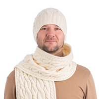 Image for Cable Knit Wool Hat, Natural