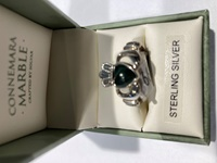 Image for Anu Sterling Silver Connemara Marble and Marcasite Claddagh Ring