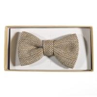 Image for Irish Oatmeal Herringbone Wool Bow Tie, Beige