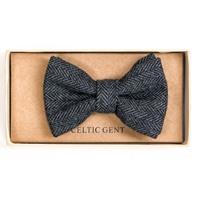 Image for Irish Cloud and Slate Herringbone Bow Tie, Grey