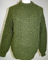 Image for Handloomed Traditional Irish Crew Neck Spring Green Sweater