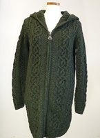 Image for Irish Aran Cable Knit Hooded Zip Coatigan Sweater Green