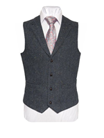 Image for WB Yeats Tweed Waistcoat with Revere, Blue