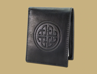 Image for Lee River Fergal Dogs Celtic Shield Leather Money Clip, Black