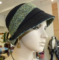 Image for Sheep By The Sea Stylish Hat, Black Fleece and Green Tweed