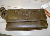 Image for Ciara Leather Clutch Bag with Strap, Green by Lee River