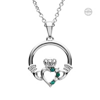 Image for Platinum Plated Green/White Claddagh Pendant