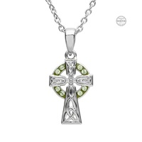Image for Platinum Plated Peridot Cross Pendant with Swarovski Crystals