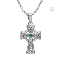 Image for Platinum Plated Green/White Cross Pendant with Swarovski Crystal