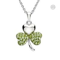 Image for Platinum Plated Periodt Shamrock Pendant with Swarovski Crystals