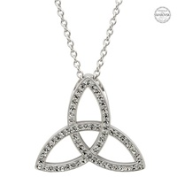 Image for Platinum Plated White Trinity Pendant with Swarovski Crystals