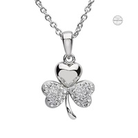 Image for Platinum Plated White Shamrock Pendant with Swarovski Crystal