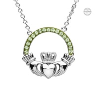 Image for Platinum Plated Peridot Claddagh Pendant